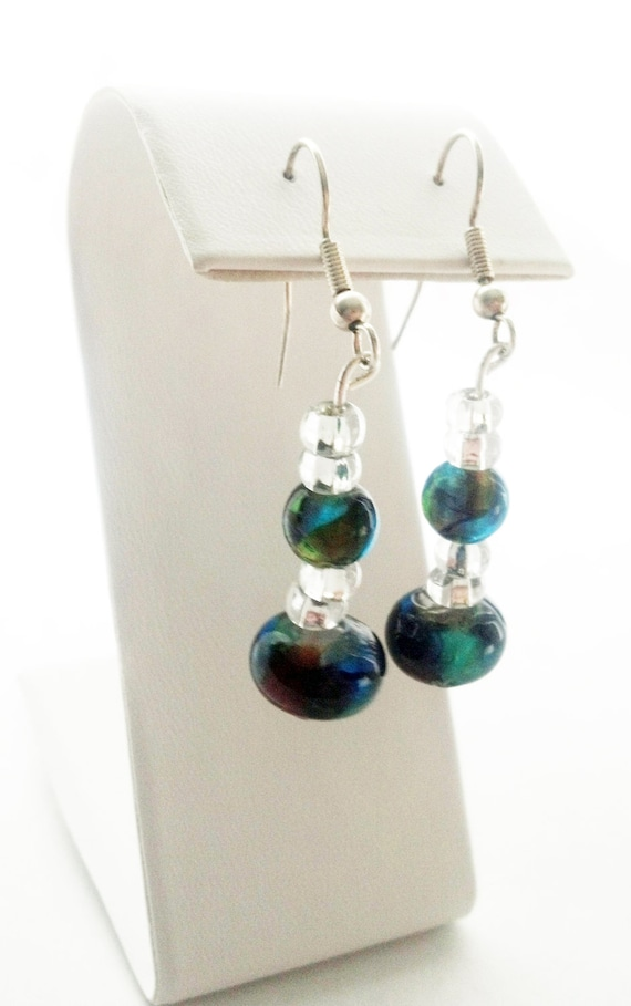 Clear and Multicolored Glass Bead Hook Earrings