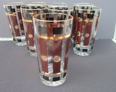 Vintage Barware Brown and Gold mid century