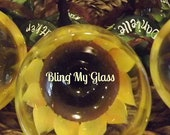 Bling My Bridesmaids with Sunflower Wine Glasses (10 glasses)