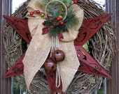 TEXAS STAR GRAPEVINE Christmas Wreath with Burlap Bow and Rustic Bells