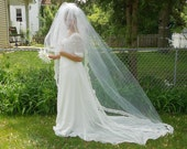 Wedding Veil Cathedral-White Lace Edge Vintage Wedding Veil-Vintage Bridal Accesory