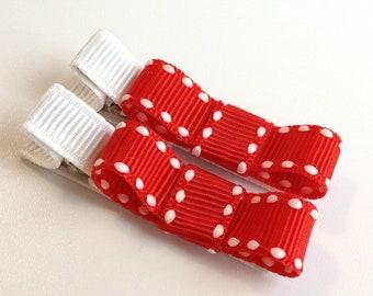 Baby Hair Clips - Red White Saddle Trim Bow - Alligator Clip Set - Baby, Girl, Toddler, Children