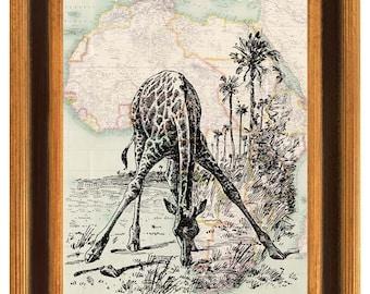 Antique Africa map Giraffe decorative print vintage map art illustration decorative arts collage shabby chic print