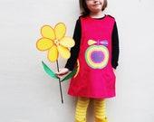 Rainbow apple girls winter pinafore dress,sizes 1y,2y,3y,4y,5y