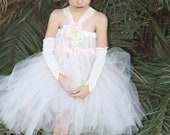 """My """"Sweet dreams""""  vintage shabby chic lace ivory, pink tutu  dress with sleeves for weddings,flower girls,photoprop,tea party,easter"""
