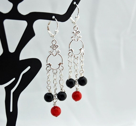 Red Coral Chandelier With 3 Lights: Black Onyx & Red Coral Chandelier Earrings By