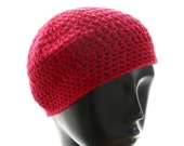 Hand crochet hat, women's crocheted beanie hat, red beanie in soy yarn, vegan hat, fall fashion, eco fashion
