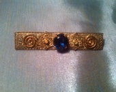 Antique Victorian Filigree Bar Pin or Brooch or Sash Pin With Large Saphire Blue Cut Glass Stone or Paste