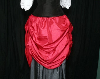 Tucked Steampunk Skirt - Red with drawstring waist