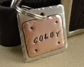 Pet Tag - Pet ID Tag - Dog Tag - Nickel Silver and Copper Pet ID Tag