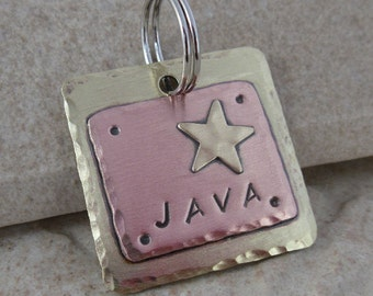 Dog Tag - Pet ID Tag - Brass and Copper with Brass Star