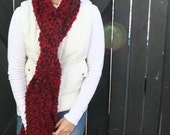Oversized Fall Winter Scarf Crochet Bulky Thick Wine Red With Black Unisex Scarf Neck Warmer