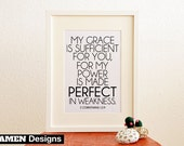 My Grace is Sufficient. 2 Corinthians 12:9. 8x10 DIY Printable Christian Poster. PDF. Bible Verse.