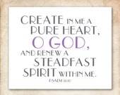 Renew. Psalm 51:10. 8x10in.  DIY Printable Christian Poster. PDF. Bible Verse.