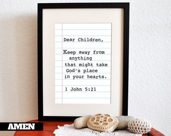 1 John 5:21. DIY. Printable Christian Poster. PDF. 8x10. Dear Children.Bible Verse.