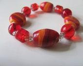 Lampwork Red and Orange Beaded Bracelet