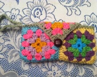 Bright Multicolor Crochet Granny Square Lined Wristlet