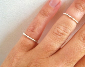 1 Sterling Silver Beaded Ring,  Sterling Silver Knuckle Ring, Beaded Midi Ring, Silver Stacking Ring