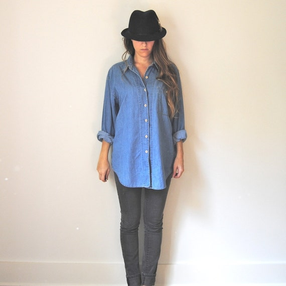Items similar to chambray denim button up shirt women 39 s for Women s collared button up shirts