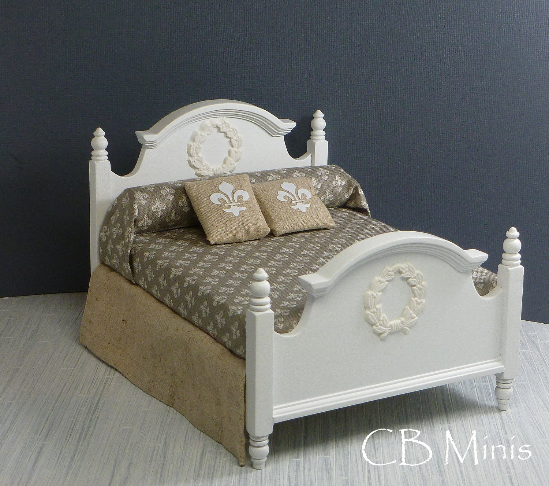 1 12 bed with fleur de lis bedding and wreath applique by cbminis - Fleur de lis bed sheets ...