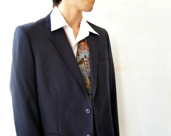 Mans blue Tailored Jacket ,  Mad Men Inspired, Vintage 80s , Retro Fashion, Casual, Office wear, Christmas gift for man, Costume wear