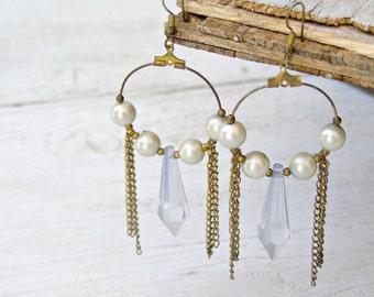 Boho Chandelier earrings, Vintage Hoop earrings, Gray Pearls, Sky Blue Cone, Dangle Earrings, Retro 80s jewelry, Hippie, Gypsy, for woman