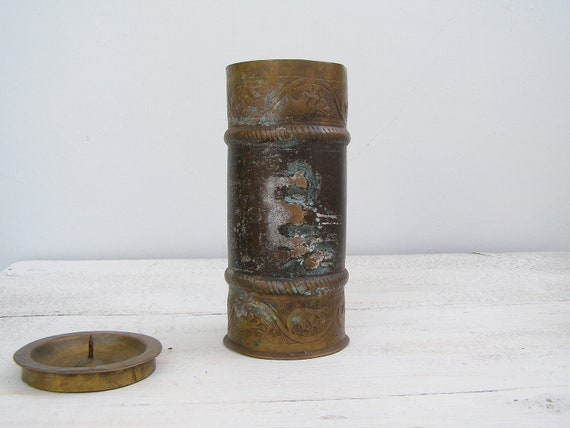Vintage Verdigris Candleholder / Vase Copper, Vanity Table Decor, Wide Tall Candle Burner Bold, Metal Table Vase, Bohemian Decorating ideas