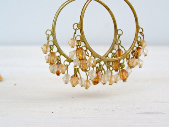 Vintage Hoops Earrings, Boho chic Autumn jewelry, Daily jewelry, Hippie fashion, Large hoops earrings, 70s fashion