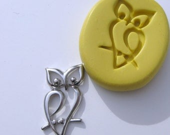 OWL pendant silicone push mold  -   silicone mold for craft, jewelry making, FIMO, Sculpey, wax, soap..