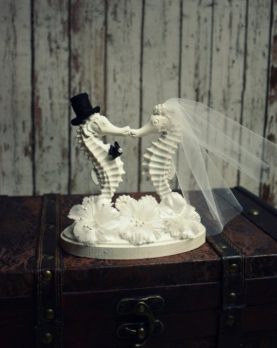 sea wedding cake toppers seahorse wedding cake topperseahorse cake by morganthecreator 19732