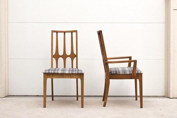 Set of Six Vintage Mid Century Brasilia Dining Chairs Custom Gray Plaid Upholstery