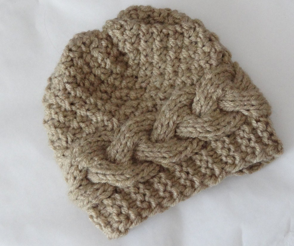 Knitting Patterns Baby Cable Hats : Baby winter hat Knit Cable Girl Hat Photo Prop Hat Newborn Etsy