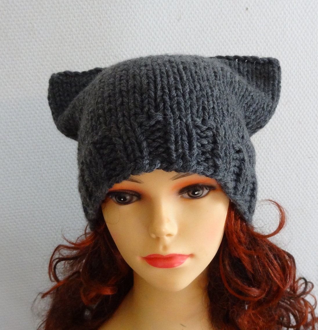 Cat Ears Hat Cat Beanie Chunky Knit Winter Accessories ...