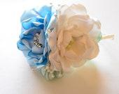 Headband - Powder Blue, Mint and Cream - Flower Headband, Flowergirl, Hard Headband, Special Occassion, Fascinator, Hair Flowers, Fabric