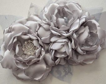Bridal Sash - Vintage Style Flower Sash - Solid Silver, Grey, Light Grey, Gray - Five Flower Sash, Fabric Flower Sash, Bridesmaid Sash