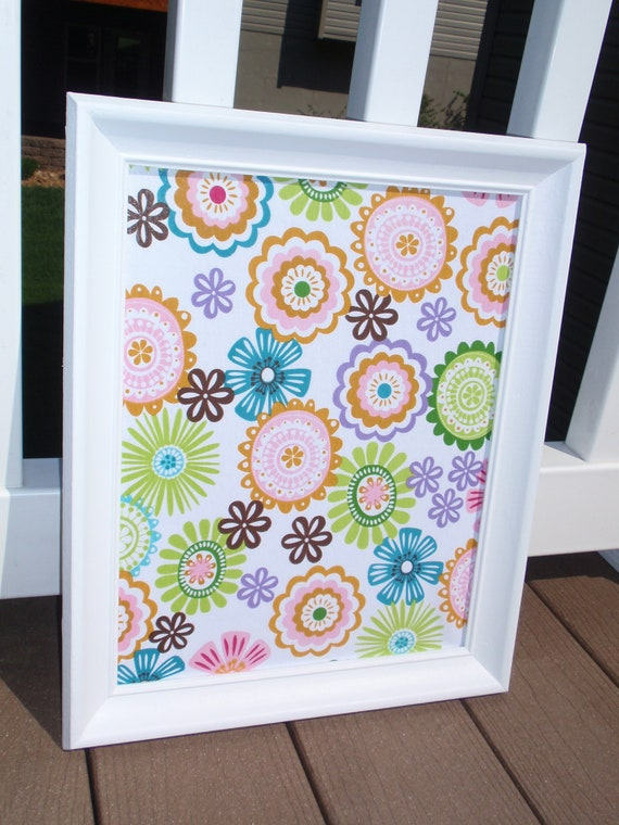 Framed Magnetic Bulletin Board / Makeup Display with Whimsical Bright Floral Print Fabric in White Frame with Five Magnets