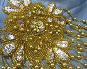 Large Gold and Silver Sequin and Beaded Applique