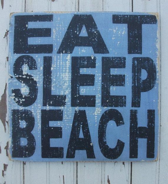 EAT SLEEP BEACH Seaglass  Ocean Blue Distressed Square Wooden Handpainted Sign Art
