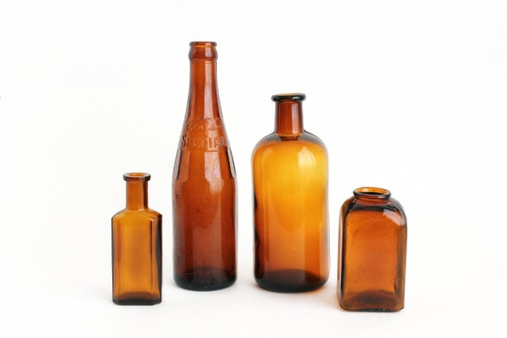 Old Glass Bottles Amber Brown Honey Gold Set 4