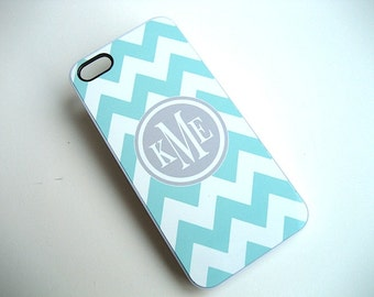 iPhone Case -  iPhone 5 - Blue and White Chevron Case with Gray Monogram -  Accessories for iPhone 5 -