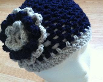 Dallas Cowboys inspired crochet flower hat - Navy Grey - NFL