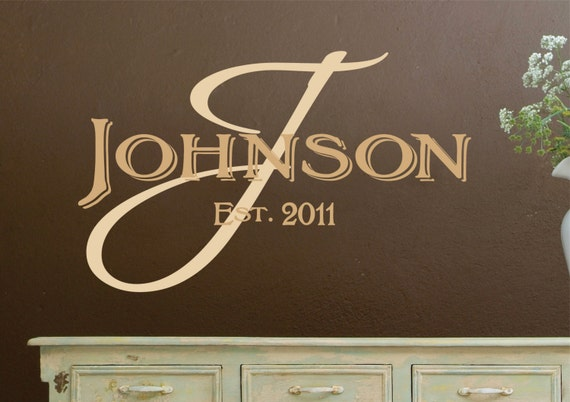 Monogram Wall Decals - Personalized Family Name  Vinyl Wall Decal