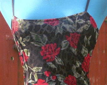 rose and leapord boned corset 34-36