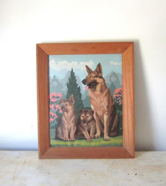 60 's Era Paint by Number Dog German Shepherds Puppies Framed Art Painting Retro Home Decor Gift for Her Him