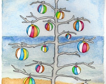 Driftwood Christmas Tree with Beach Balls Cards