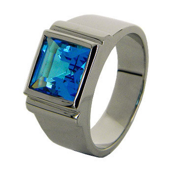 Blue Topaz Sterling Silver Men Ring, Big Size Ring, One Stone Ring (MN 3 )