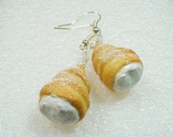 Cream Horn Earrings. Polymer Clay.