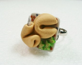 Fortune Cookies Ring. Polymer Clay.