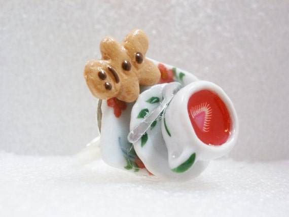 Strawberry Tea and Cookie  Ring. Polymer Clay.