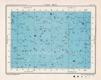 star map 58 celestial astronomy vintage celestial chart print